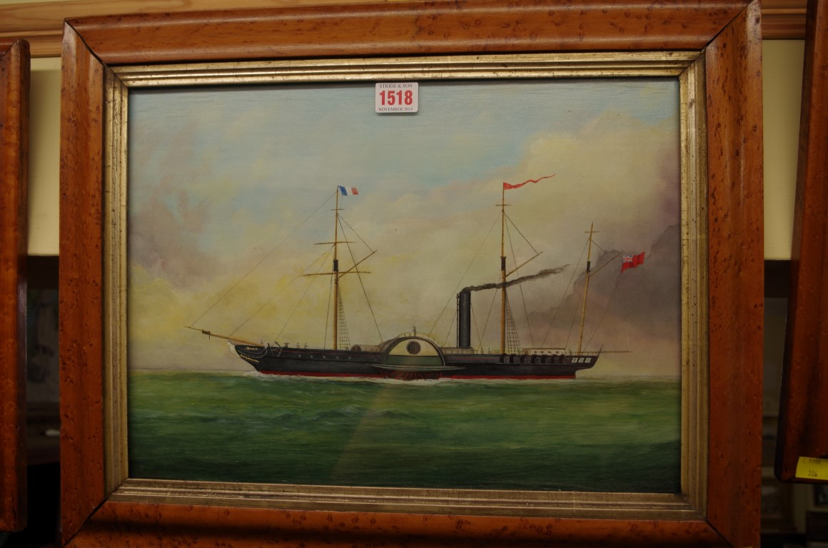 Lot 1518 - English School,20th century, a paddle steamer, oil on board, 29 x 40.5cm, in a maple frame.