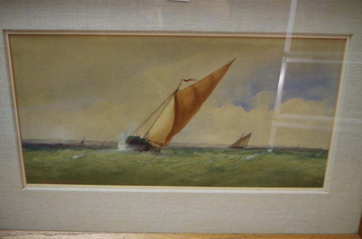 Lot 1415 - Charles Taylor Jnr, Irish coastal scene, signed, watercolour, 24 x 49cm.