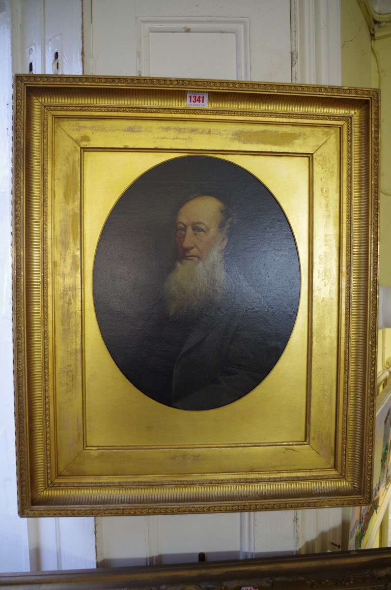 Lot 1341 - British School, 19th century, bust length portrait of a bearded gentleman, oil on canvas, 39 x