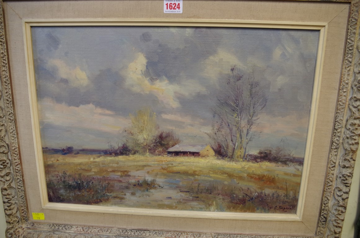 Lot 1624 - Christopher Tugwell (South African), a farmstead, signed, oil on canvas board, 34.5 x 50cm.