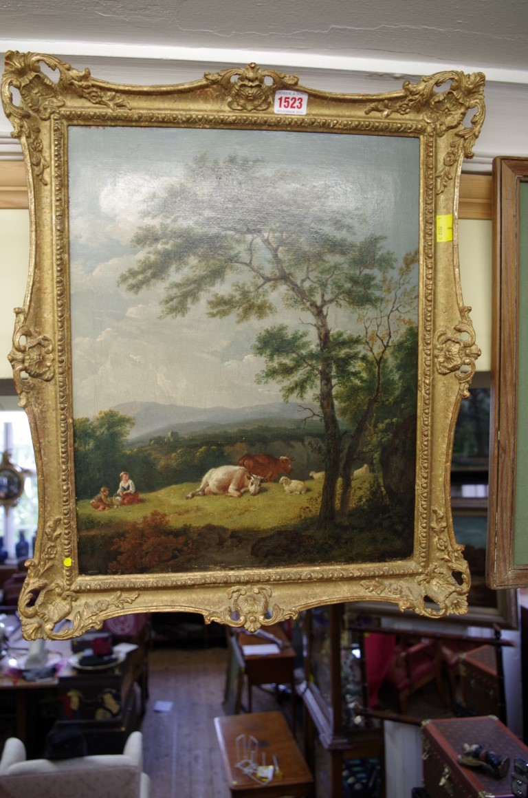 Lot 1523 - Attributed to Henry Brittan Willis, figures and cattle at rest in an extensive landscape, oil on