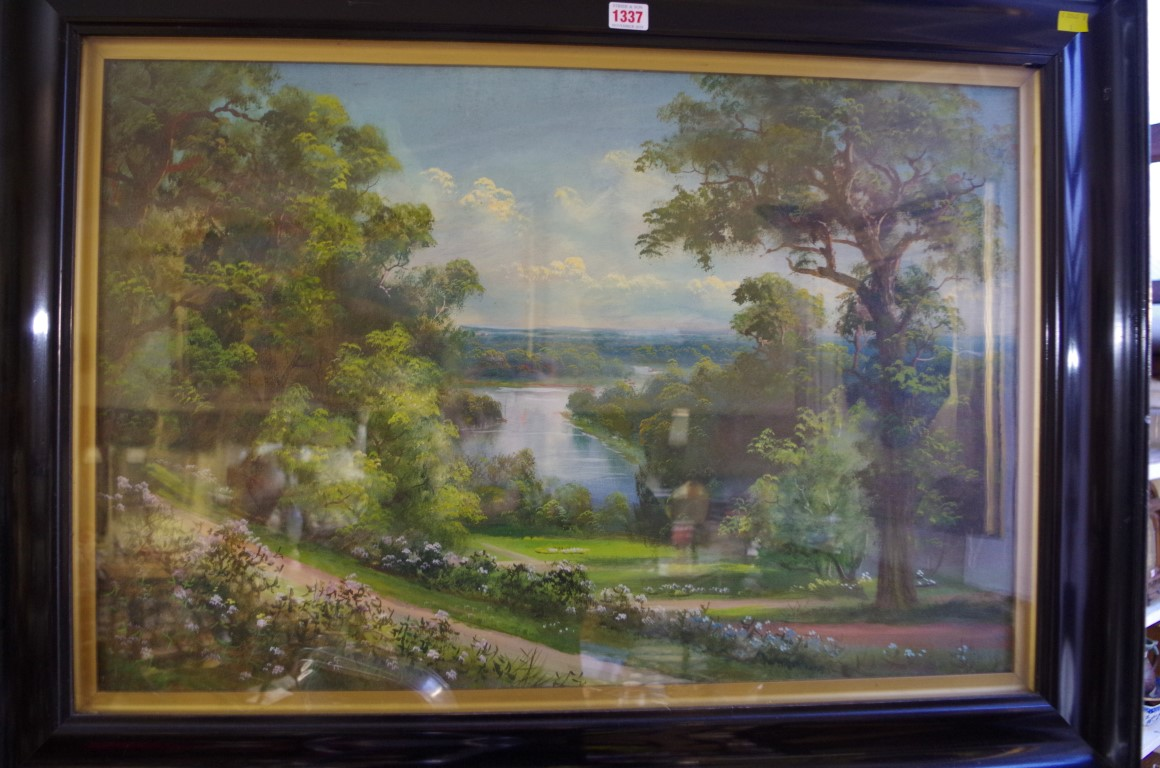 Lot 1337 - J Lewis,'The Thames from Richmond Hill', signed, oil on card, 49.5 x 75cm.