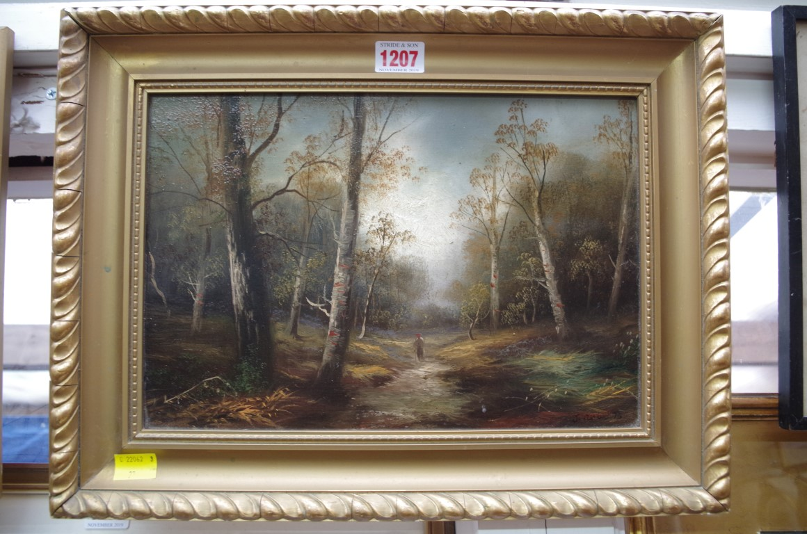 Lot 1207 - Manner of J Varley,figure on a woodland path, a pair, each bearing signature and dated '76, oil