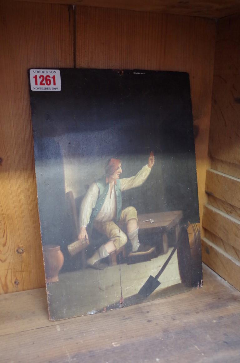Lot 1261 - Continental School, 18th/19th century, a figure in a tavern, oil on oak panel, 26 x 19cm, unframed.