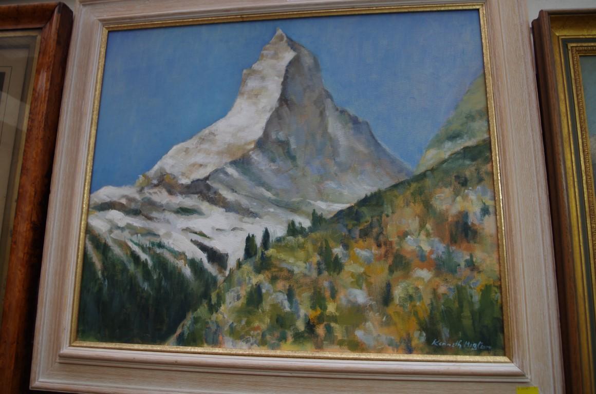 Lot 1145 - Kenneth Higton,'The Matterhorn', signed, oil on canvas, 48.5 x 58cm.