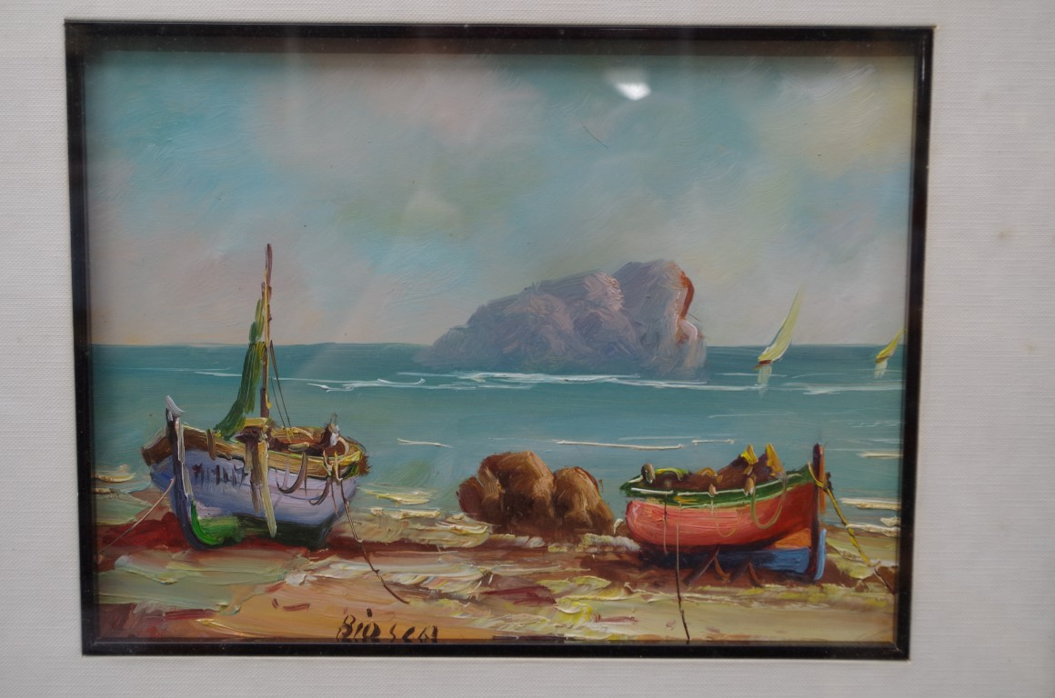 Lot 1200 - Continental School, fishing boat on a shoreline, indistinctly inscribed, oil on board, 17 x 23cm.