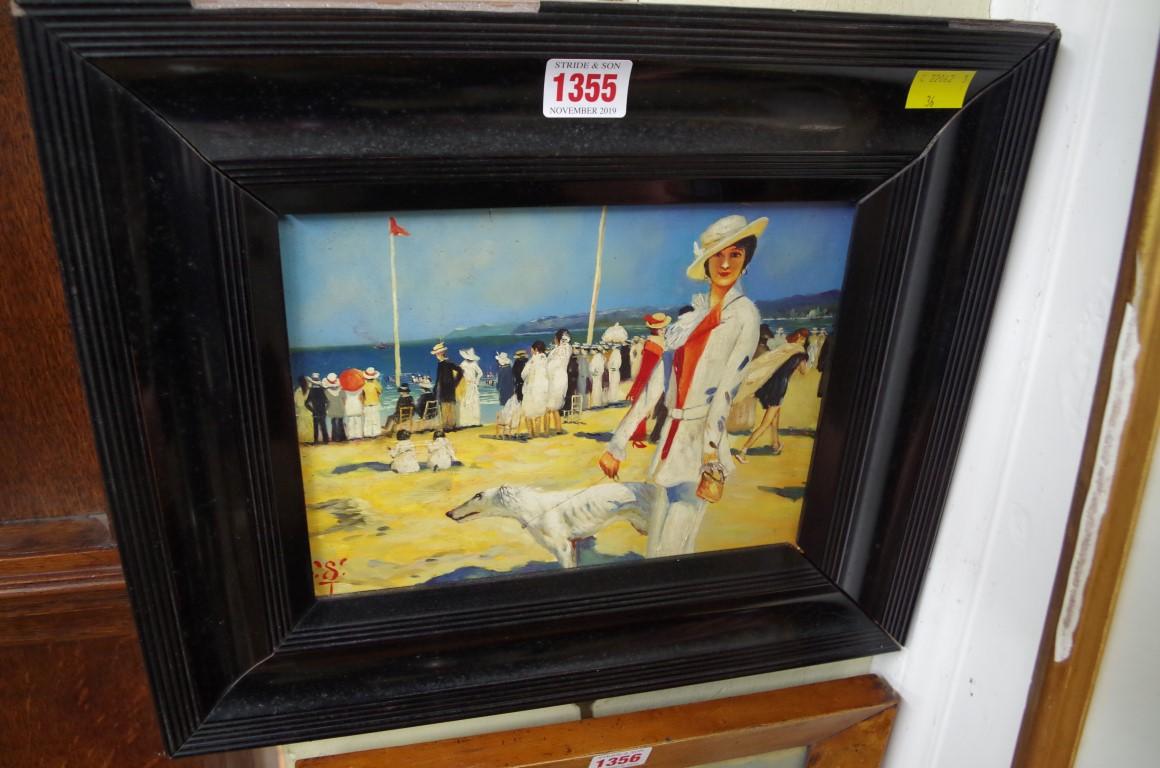 Lot 1355 - European School, an Edwardian beach scene, initialled, oil on board, 17.5 x 23cm.