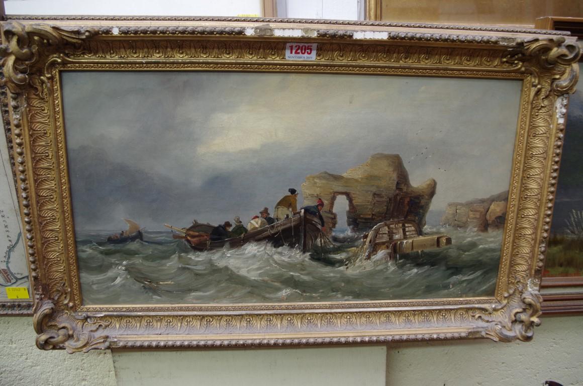 Lot 1205 - English school,19th century, 'Elephant Rock near Hartlepool', oil on canvas, 26 x 49cm.