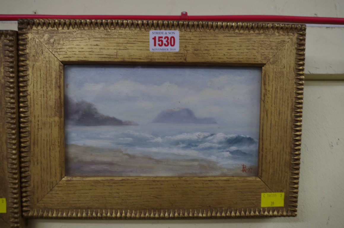 Lot 1530 - * Bourdillon,'View of Island at Alassio',monogrammed and dated '97, inscribed verso, oil on board,