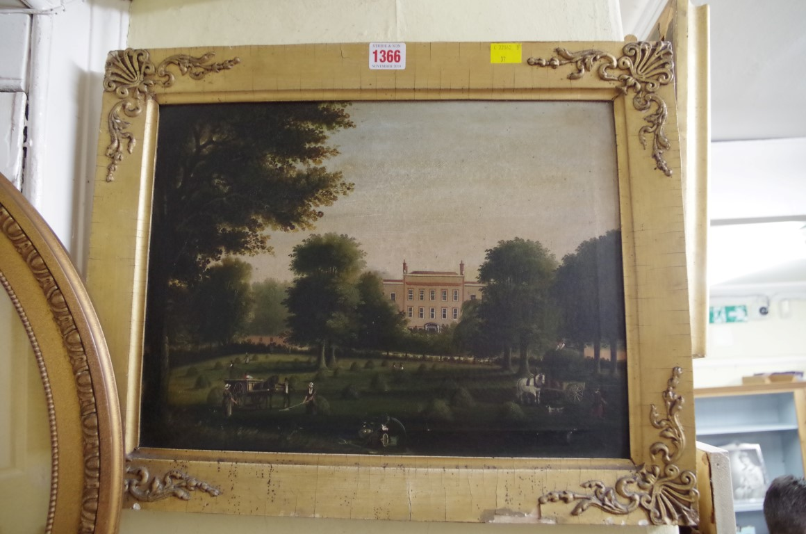 Lot 1366 - English School, 19th century, a country house, oil on canvas, 29.5 x 40cm.