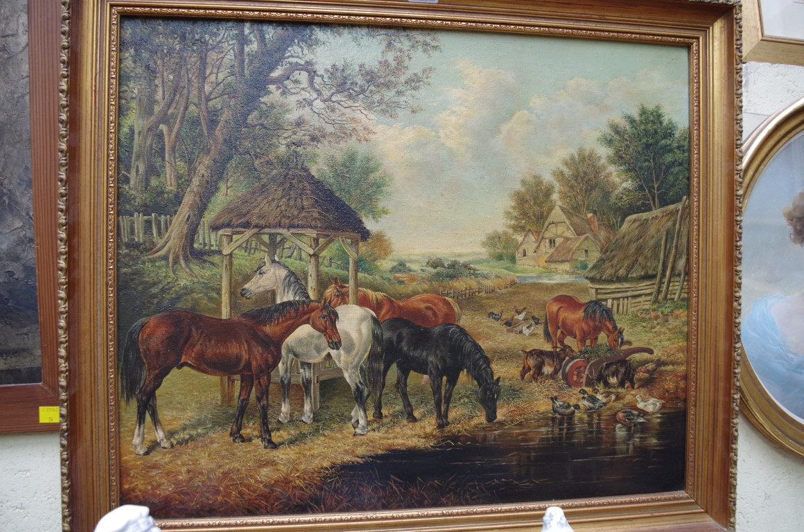 Lot 1180 - Manner of J F Herring, animals in a farmyard, oil on canvas, 49.5 x 60cm.