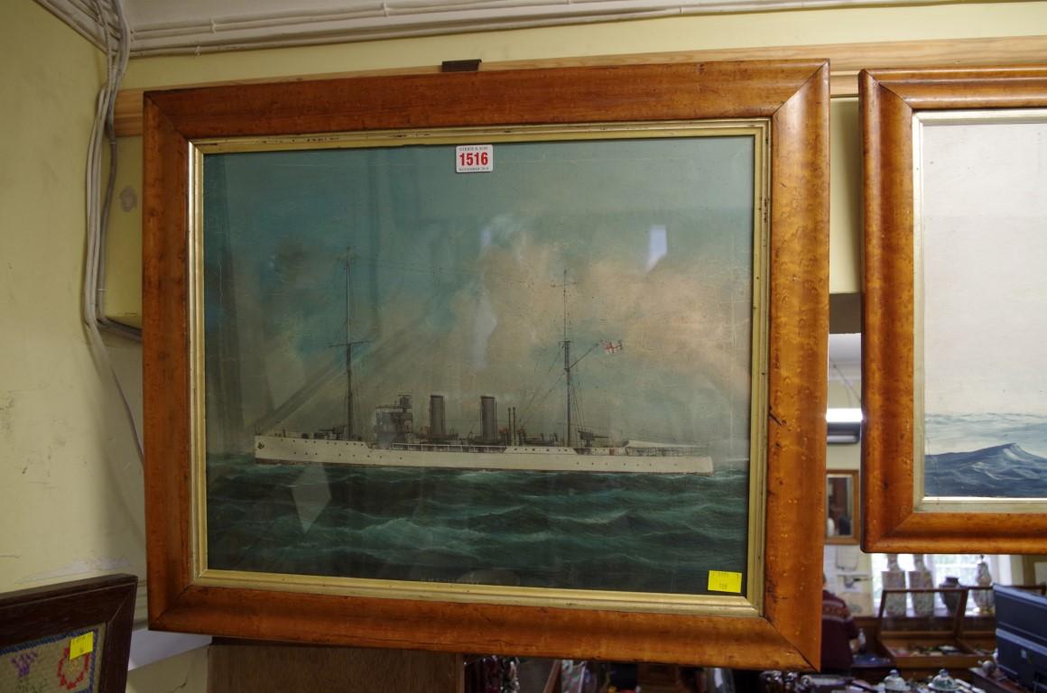 Lot 1516 - English School,'HMS Foxglove', oil on canvas, 37.5 x 47cm, in maple frame.