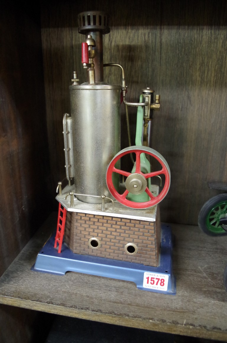 Lot 1578 - A Wilesco D455 upright stationary steam engine.