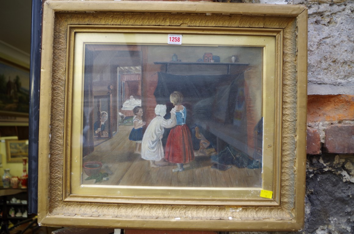 Lot 1257 - British School, figures in a cottage interior, oil on canvas board, 32 x 40.5cm.