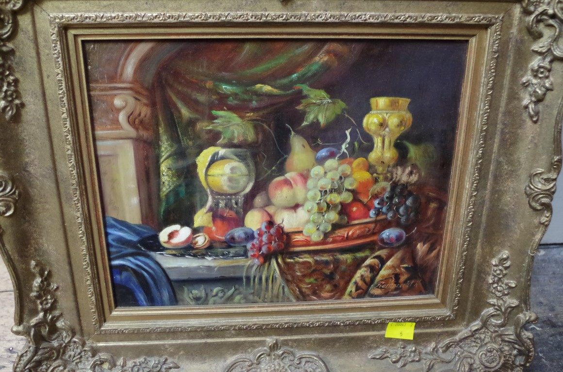Lot 1412 - K Reinprecht, still life of fruit and other item, a pair, each signed, oil on board, 23 x 29cm.
