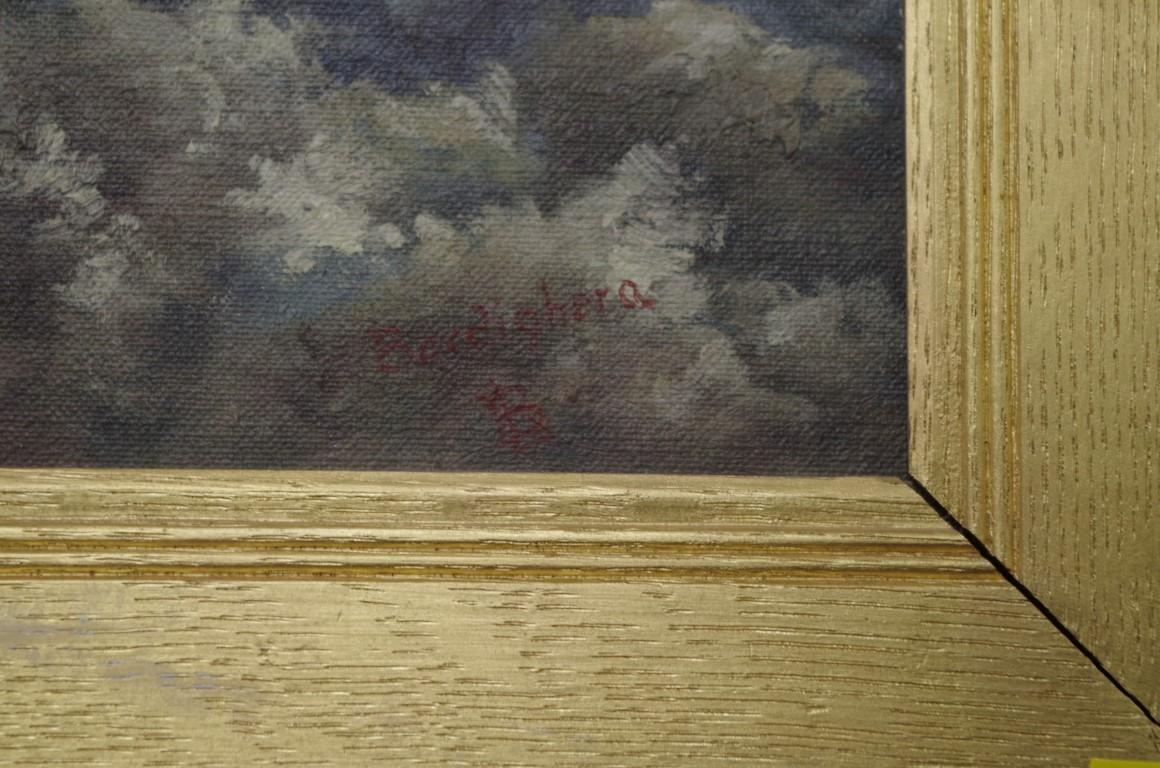 Lot 1397 - European School, 'Berdighera, Italy', monogrammed, oil on board, 16.5 x 40.5cm.