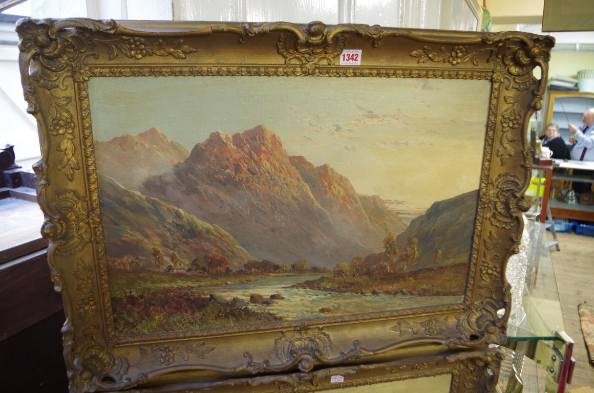 Lot 1342 - F C Jamieson,highland scenes, a pair, each signed, oil on canvas, 39 x 59.5cm.