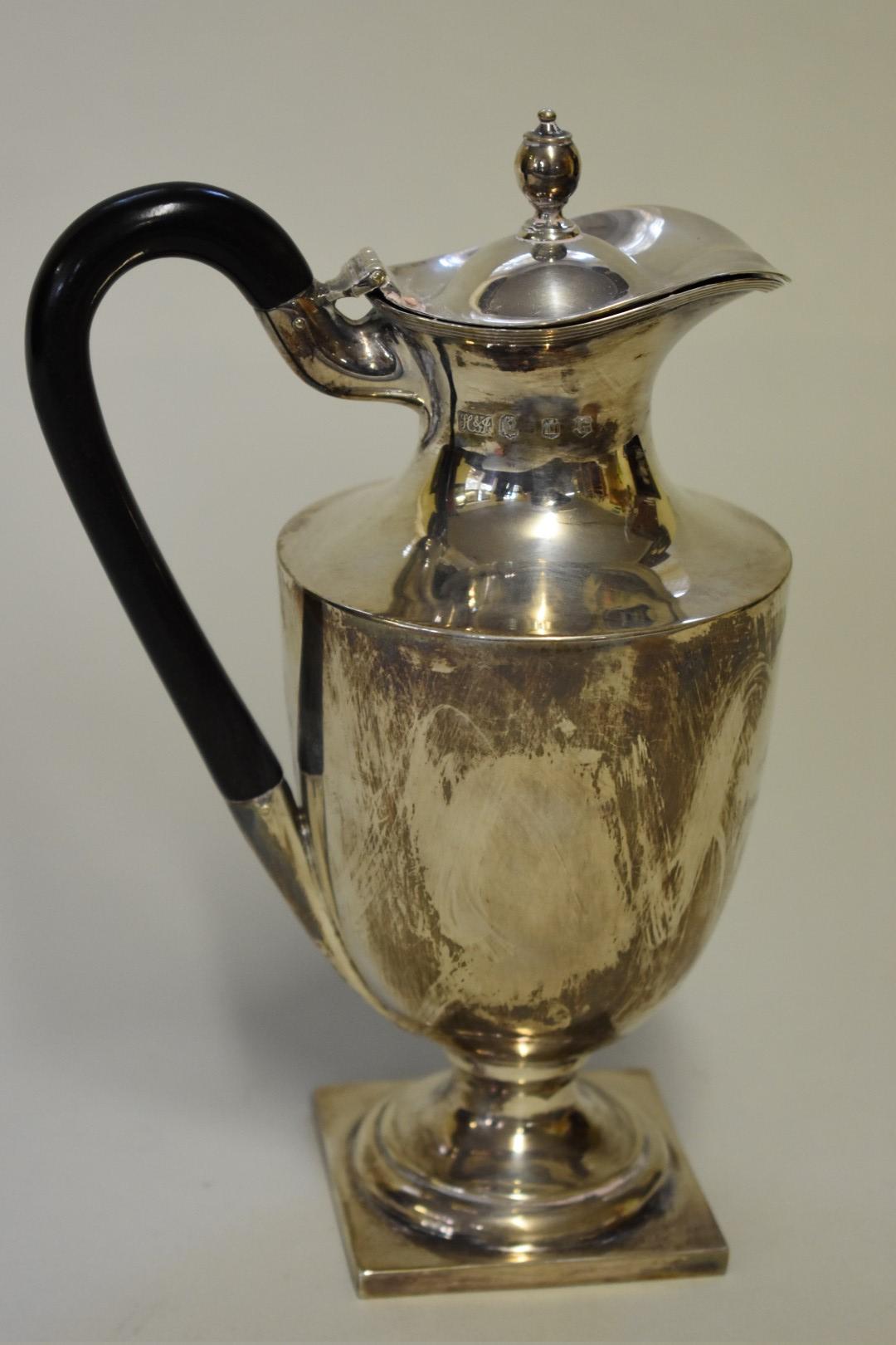 Lot 22 - Of WWI interest: aScottish silver hot water jug, byHamilton & Inches,Edinburgh 1912,inscribed