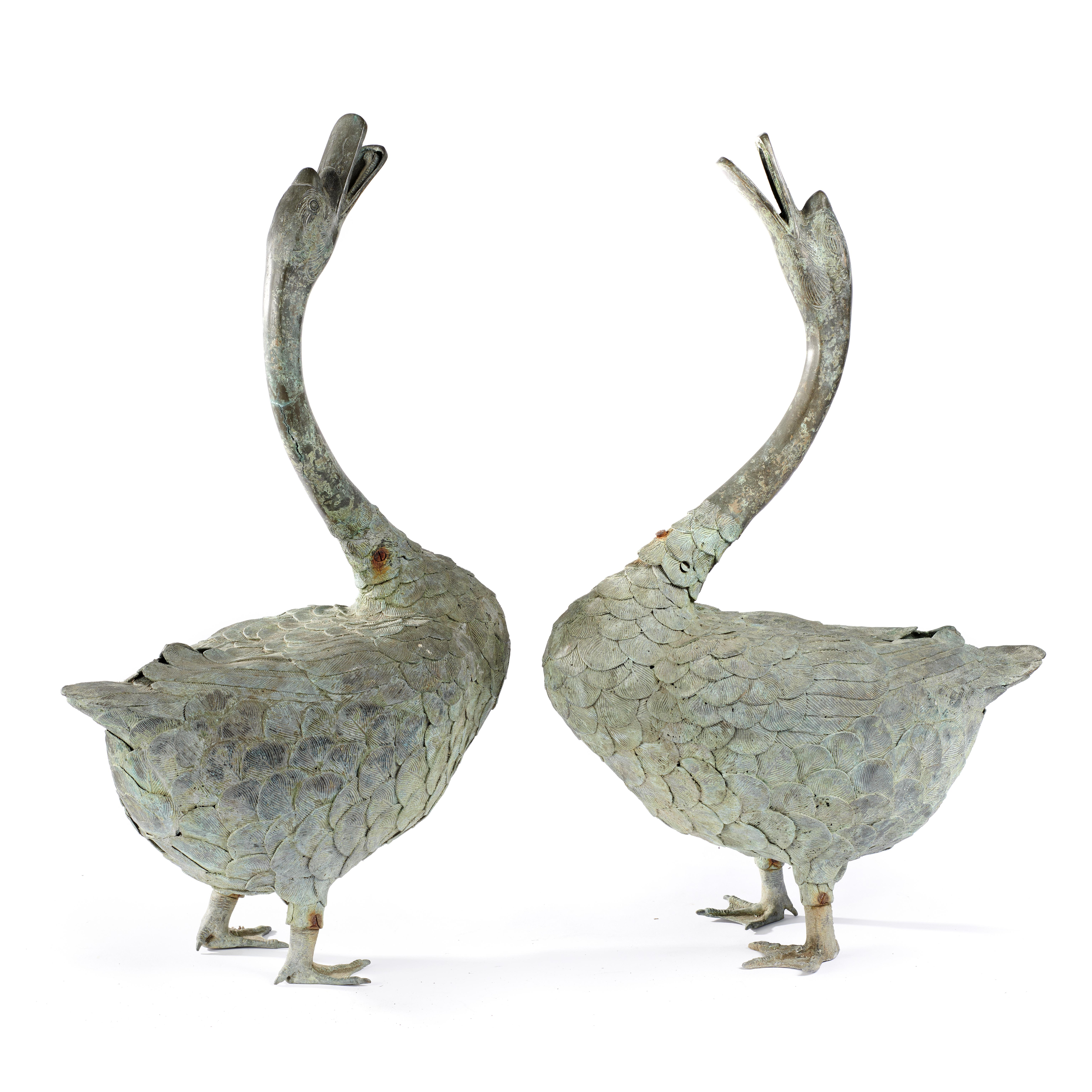 Lot 128 - Oriental/Interior Design: A very rare pair of bronze geese, Japanese, Meiji Period (1868-1912), 68cm