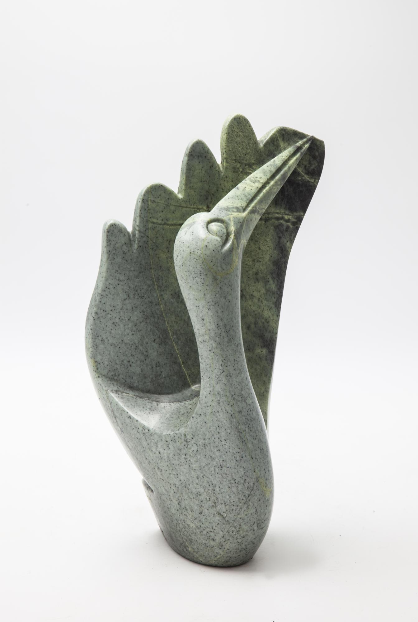 Lot 7 - Sculpture: Andaminyo Chihota, Scratching My Wings, Serpentine stone, 35.5cm high by 19.5cm wide by