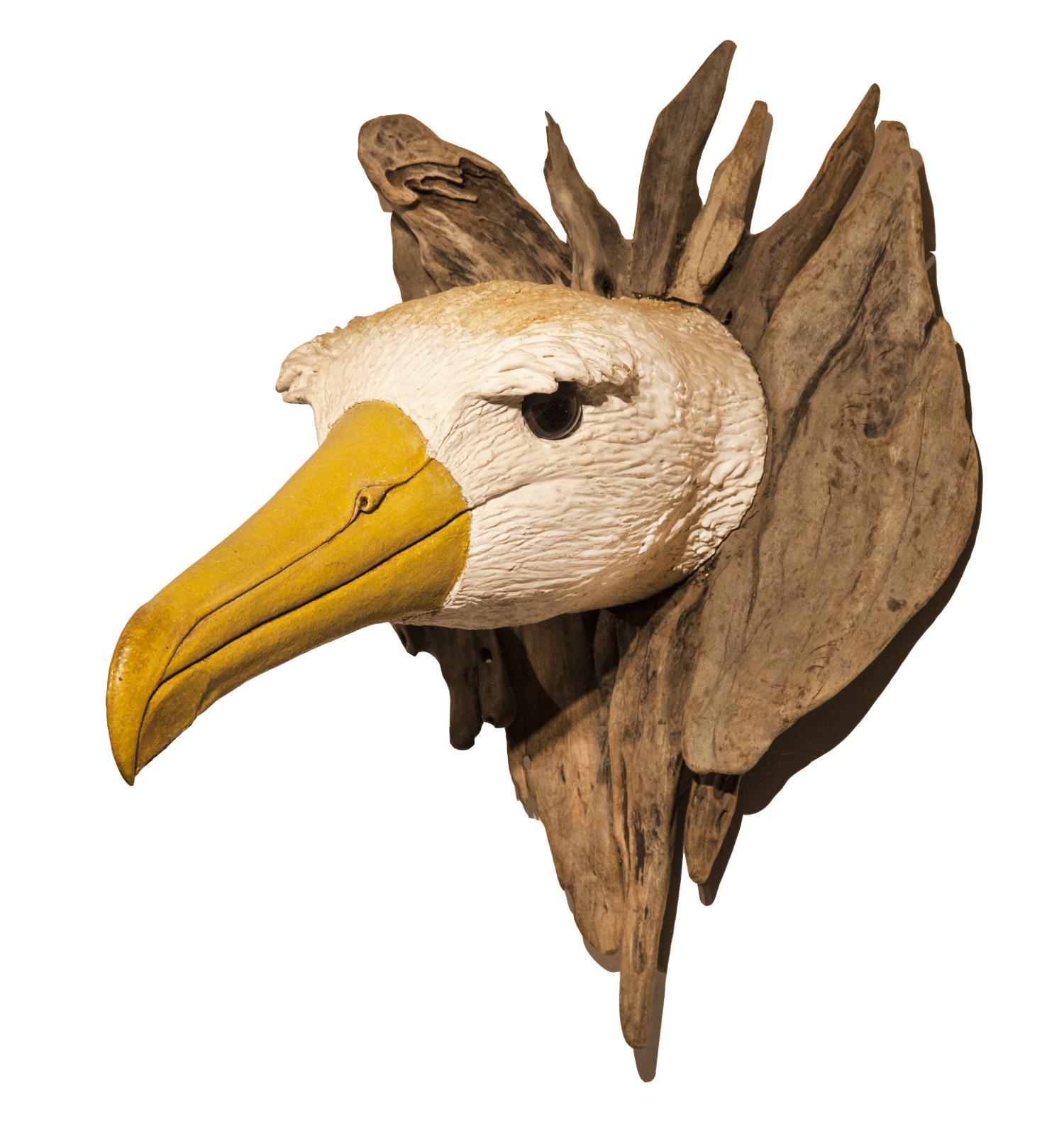 Lot 37 - Sculpture: Gail Dooley, Albatross Head, Ceramic and wood, Unique, 47cm high by 35cm wide by 45cm