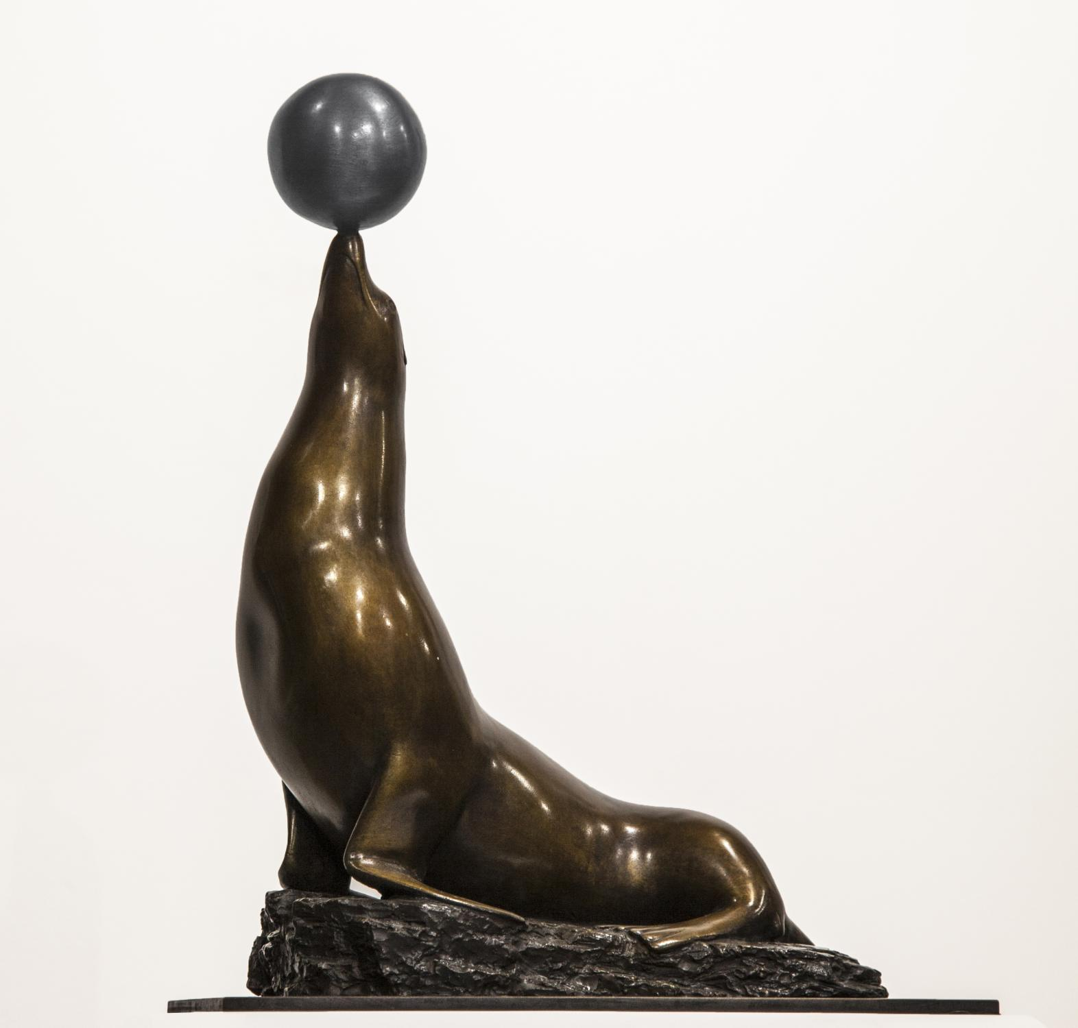 Lot 27 - Sculpture: David Norris, Circus Seal With Ball, Bronze , Signed, 34cm high by 24cm wide by 14cm