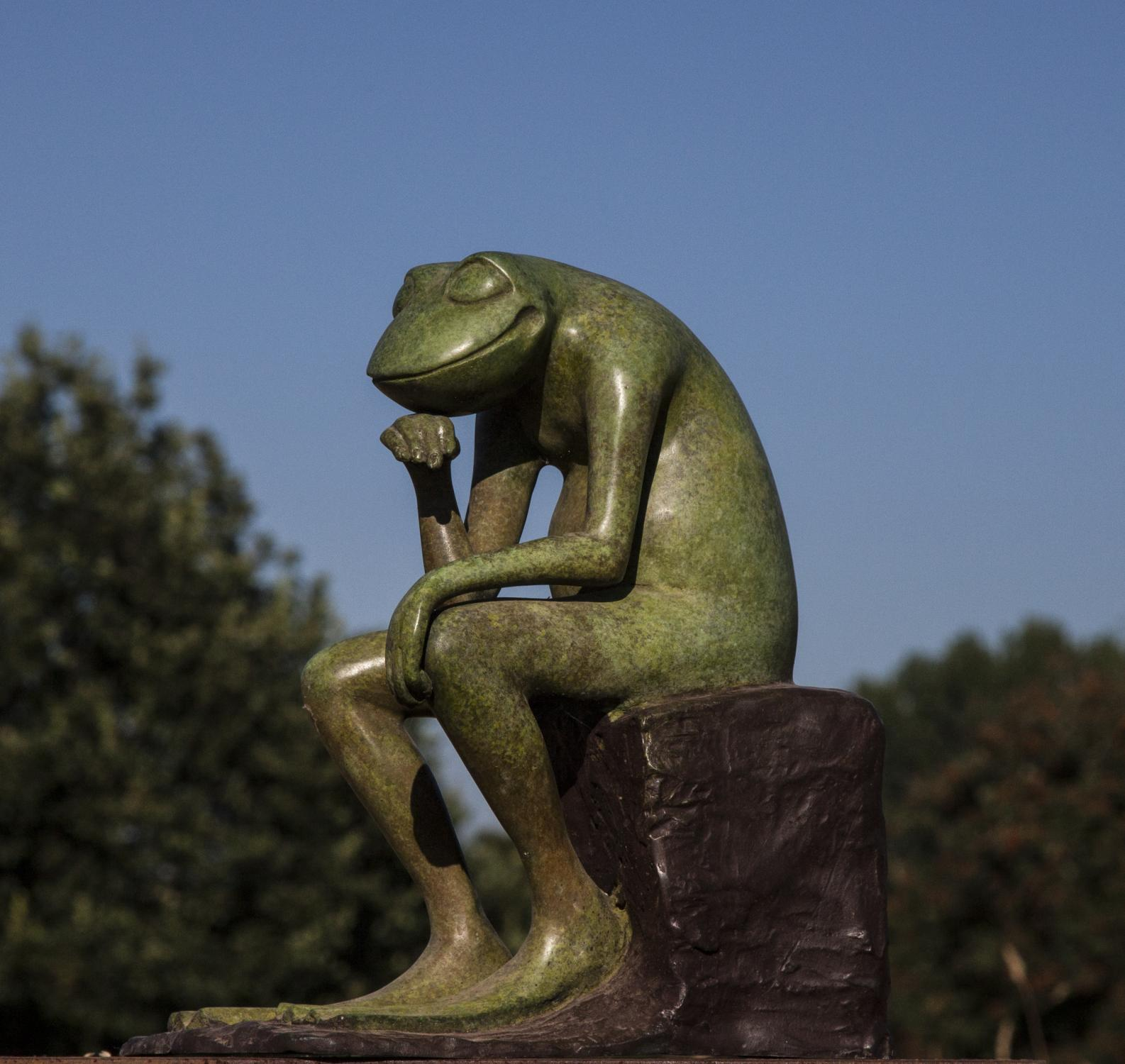 Lot 26 - Sculpture: David Meredith, The Thinker Frog, Bronze, 30cm high by 27cm wide by 17cm deep