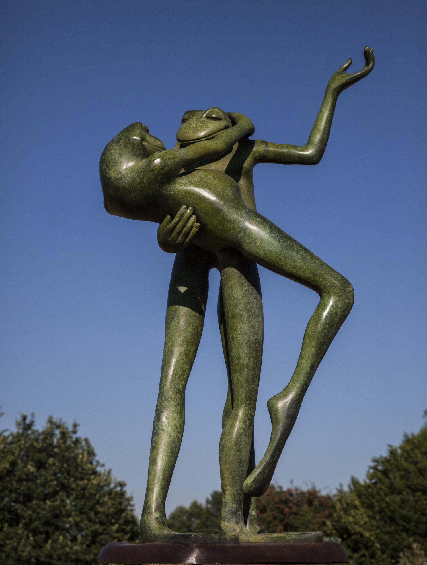 Lot 25 - Sculpture: David Meredith, Large Dancing Frogs, Bronze, 61cm high by 38cm wide by 25cm deep
