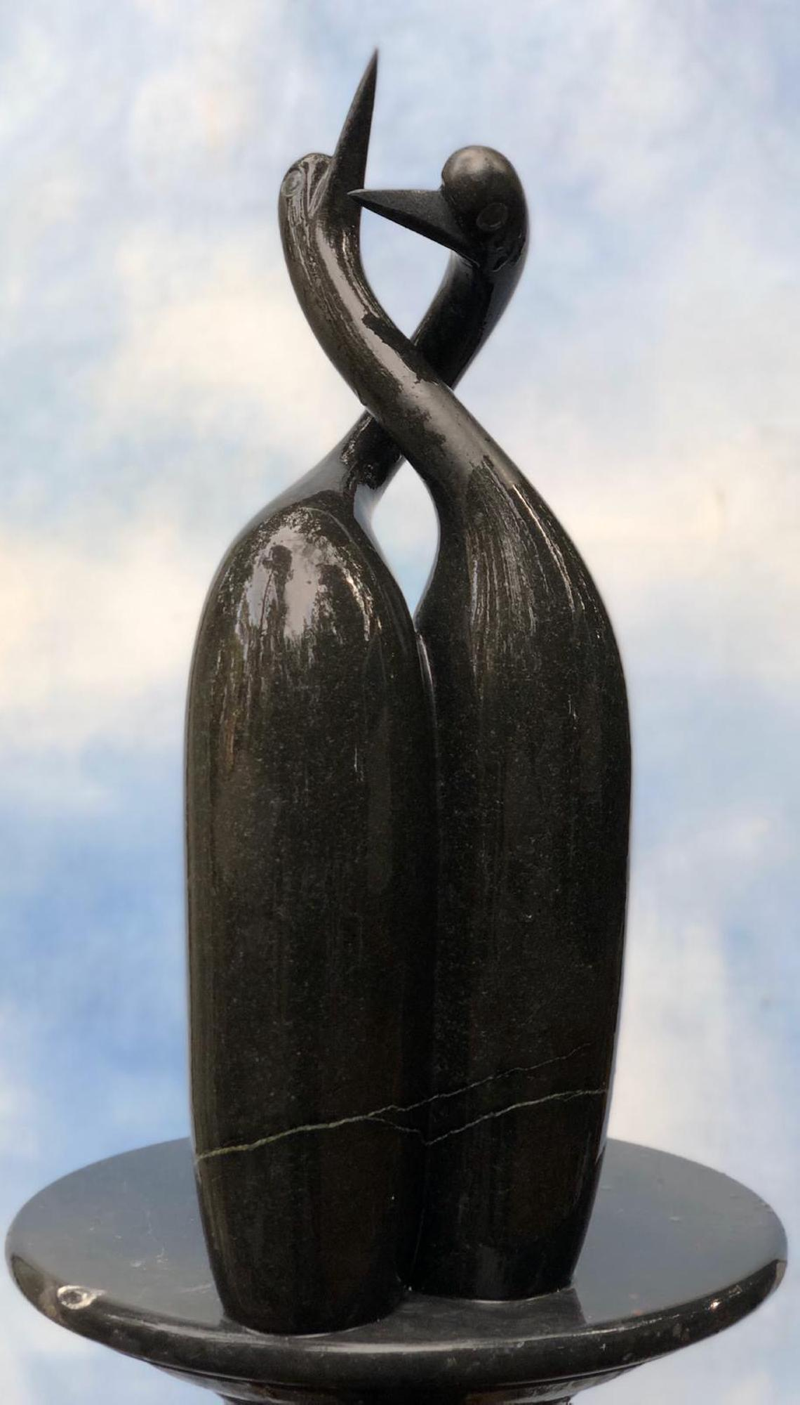 Lot 5 - Sculpture: Alfred Matuke, Together In Harmony, Springstone, Unique, 54cm high by 20cm wide by 13cm