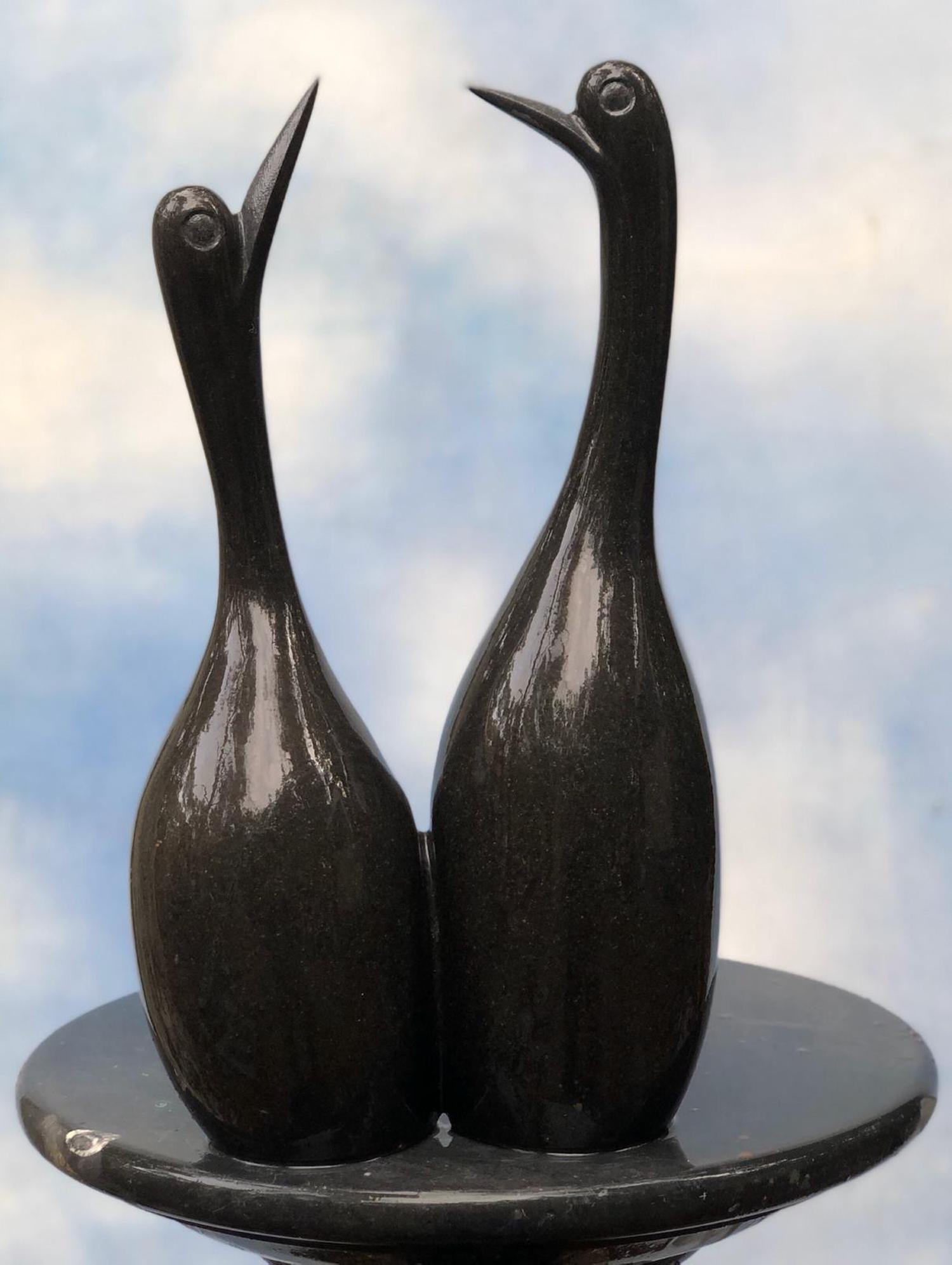 Lot 6 - Sculpture: Alfred Matuke, Together We Stand, Springstone, Unique, 37cm high by 22cm wide by 12cm