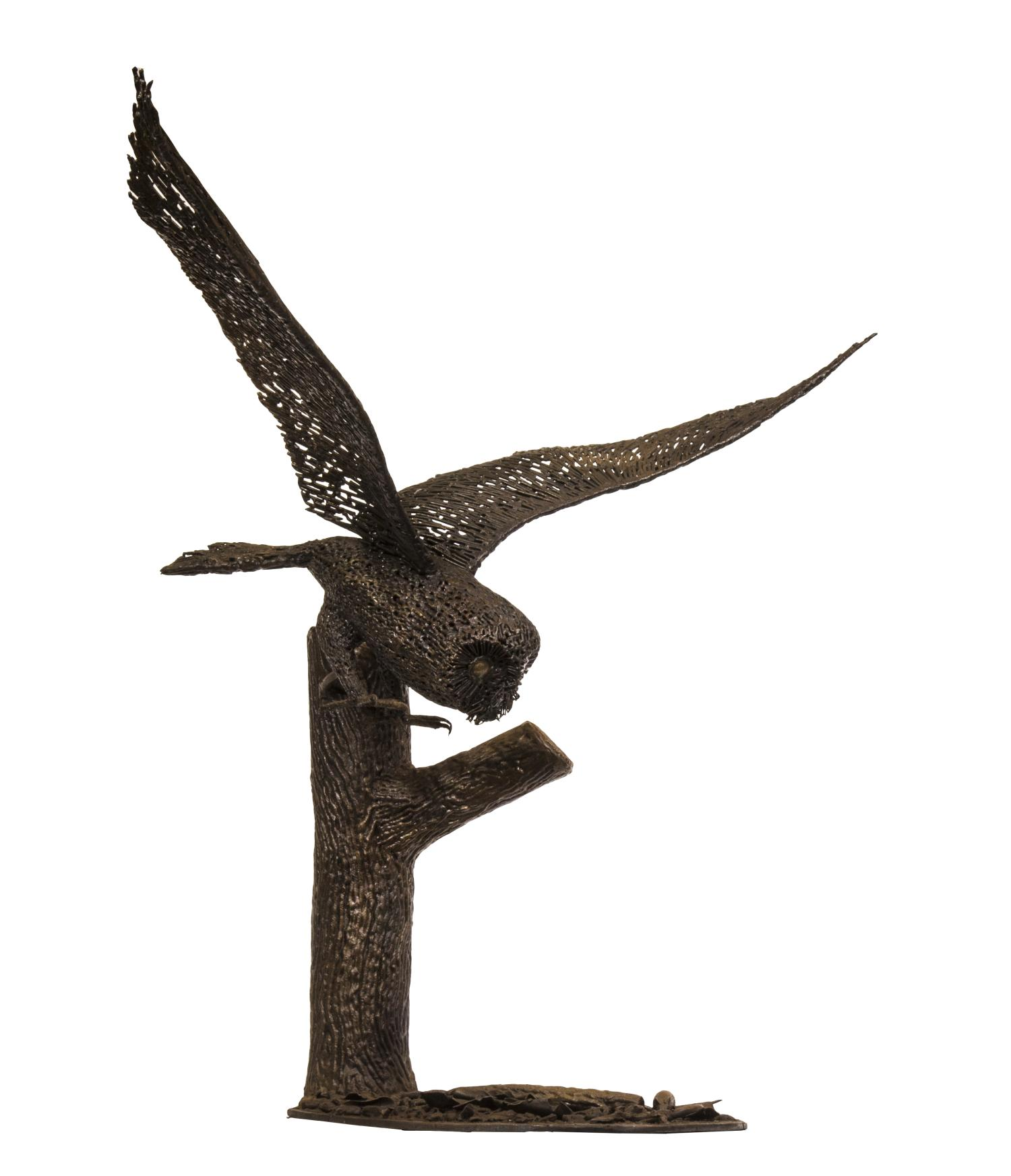 Lot 12 - Sculpture: Barn Owl Hunting, Mild steel, Unique, 84cm high by 96cm wide by 54cm deep