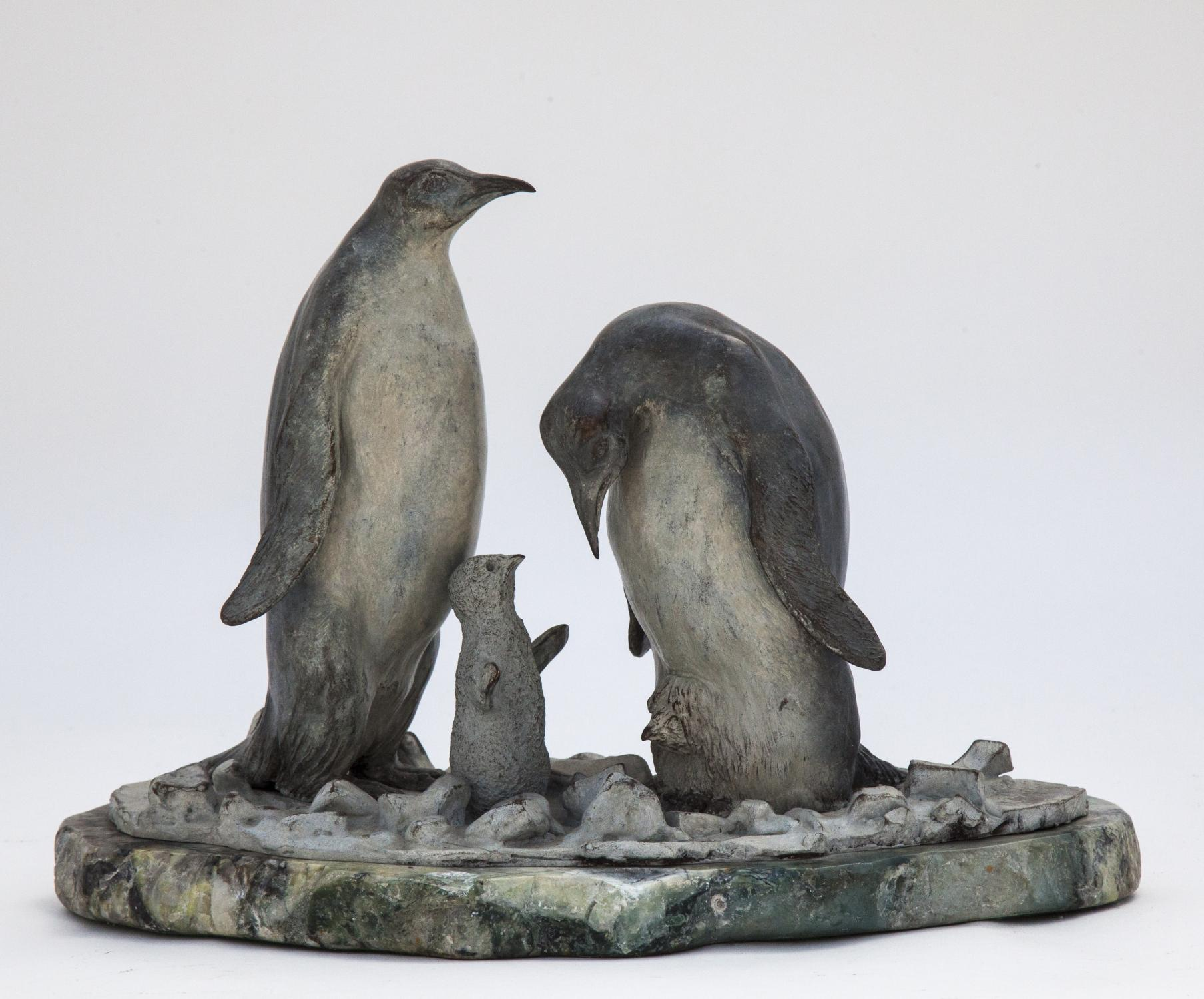 Lot 10 - Sculpture: ▲ Annette Yarrow, (born 1932), Penguin Family, Bronze on stone, Signed edition 1 of 9,