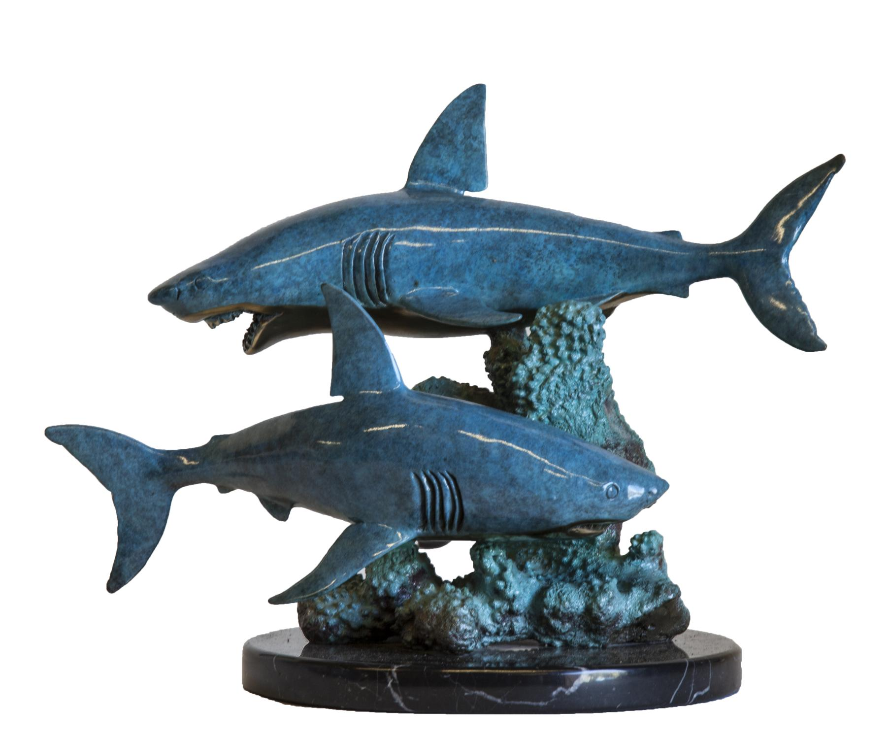 Lot 16 - Sculpture: Blue Sharks, signed Wyland 1999, Bronze on marble plinth, Edition 202 of 300, 25cm high