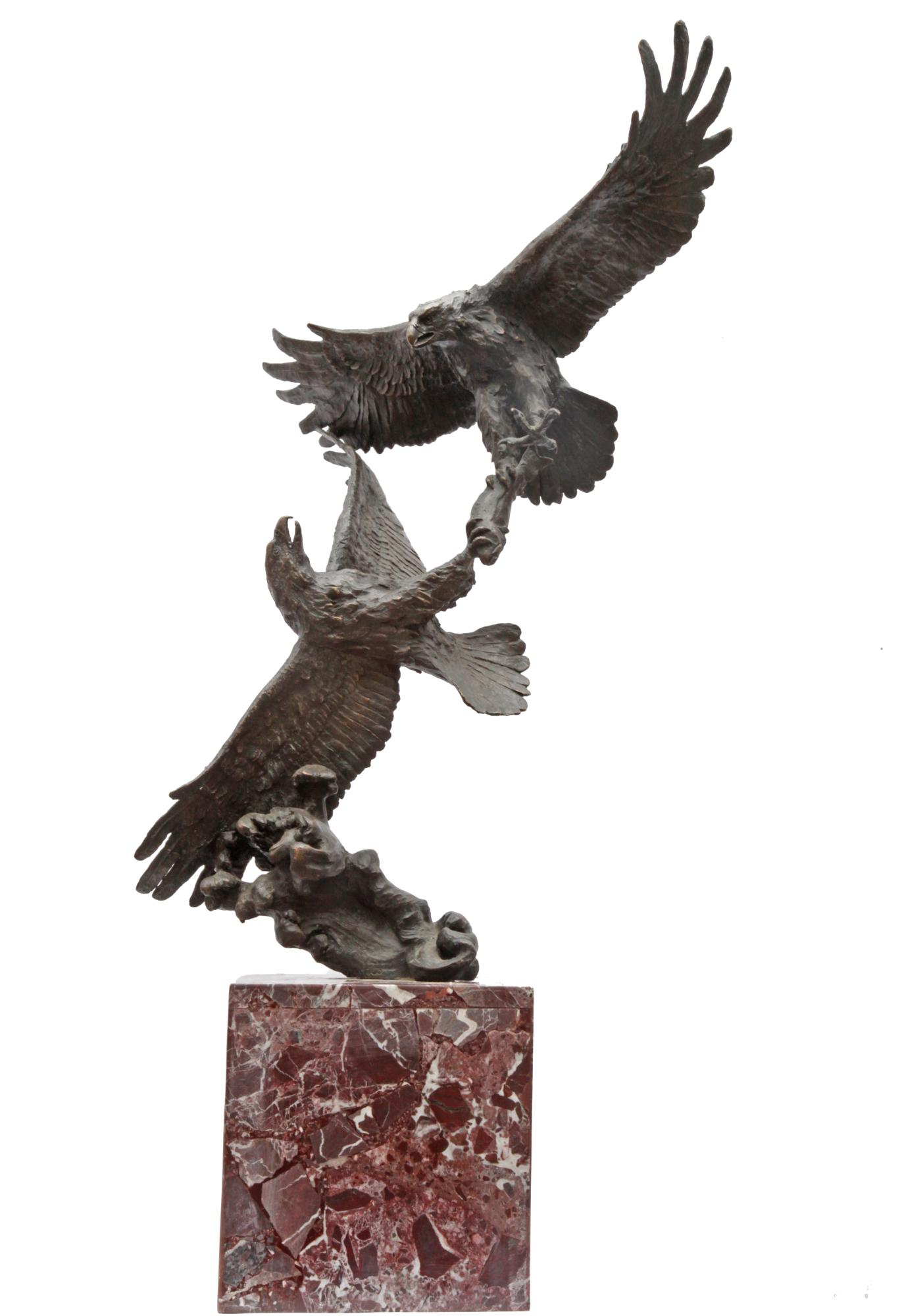 Lot 31 - Sculpture: Fighting Eagles, Bronze, Signed Milo, 82cm high by 39cm wide by 32cm deep