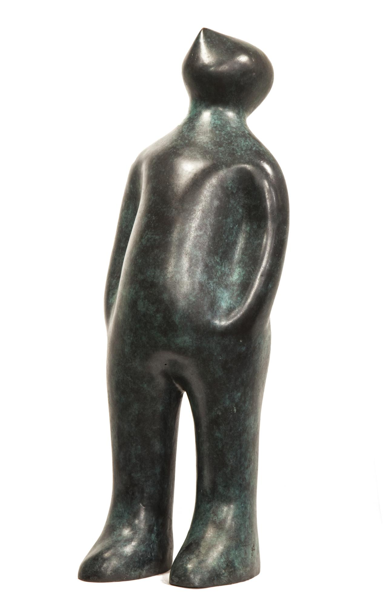 Lot 38 - Sculpture: Guido Deleu, The Visitor , Bronze, 75cm high by 28cm wide by 21cm deep