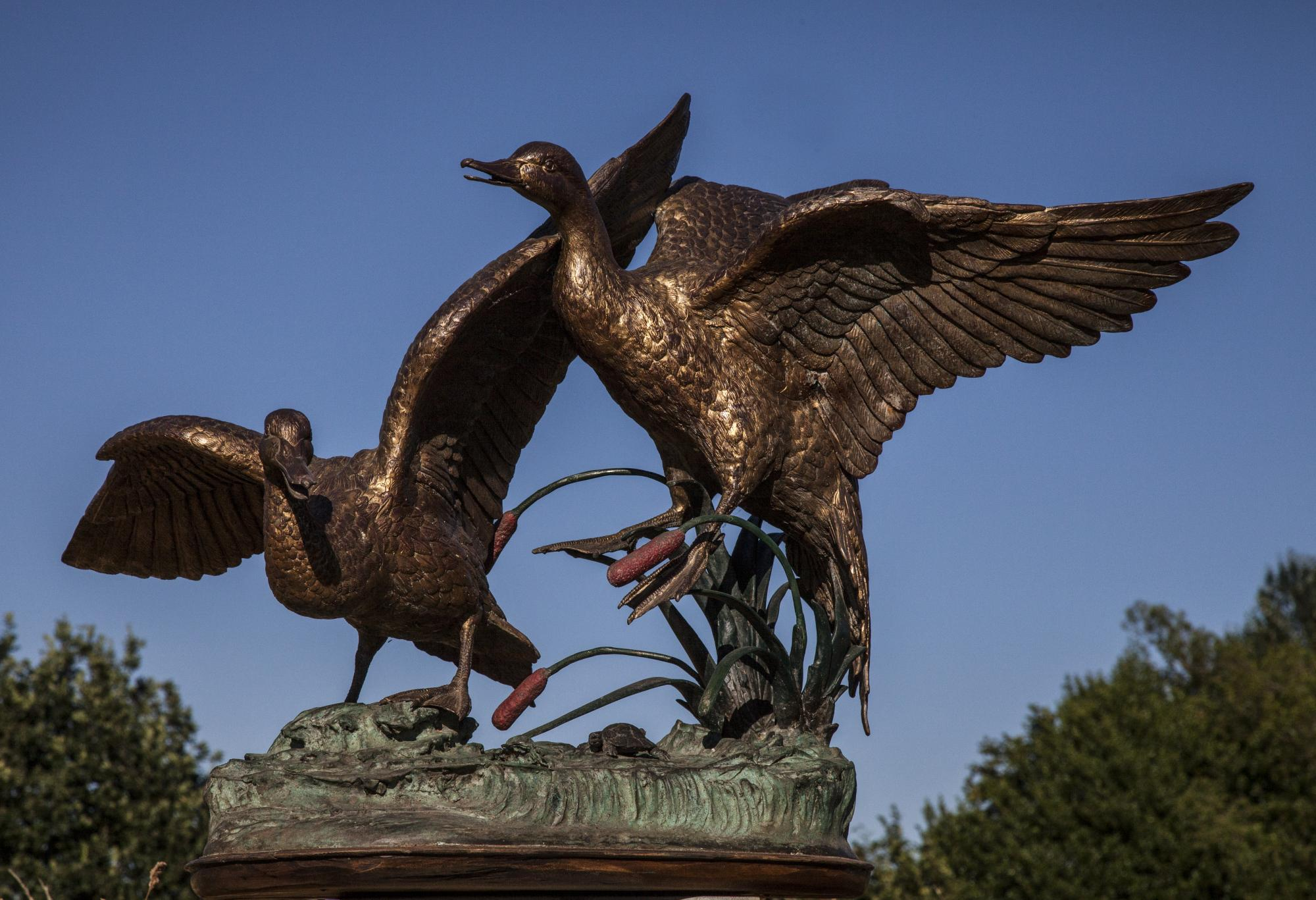 Lot 29 - Sculpture: Ducks in Bullrushes, Bronze, 89cm high by 123cm wide by 105cm deep