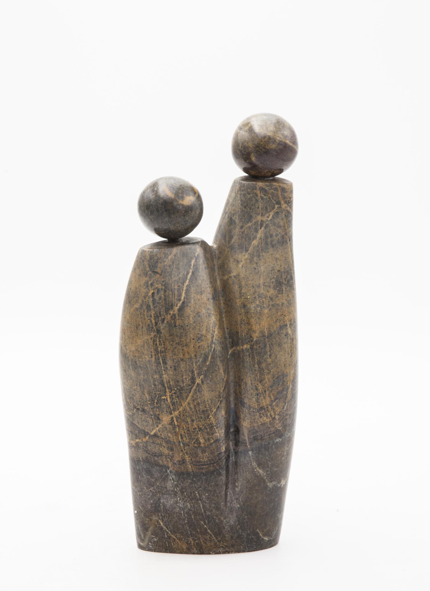 Lot 33 - Sculpture: Fungai Dodzo, Generations, Serpentine stone, 29cm high by 13cm wide by 8cm deep