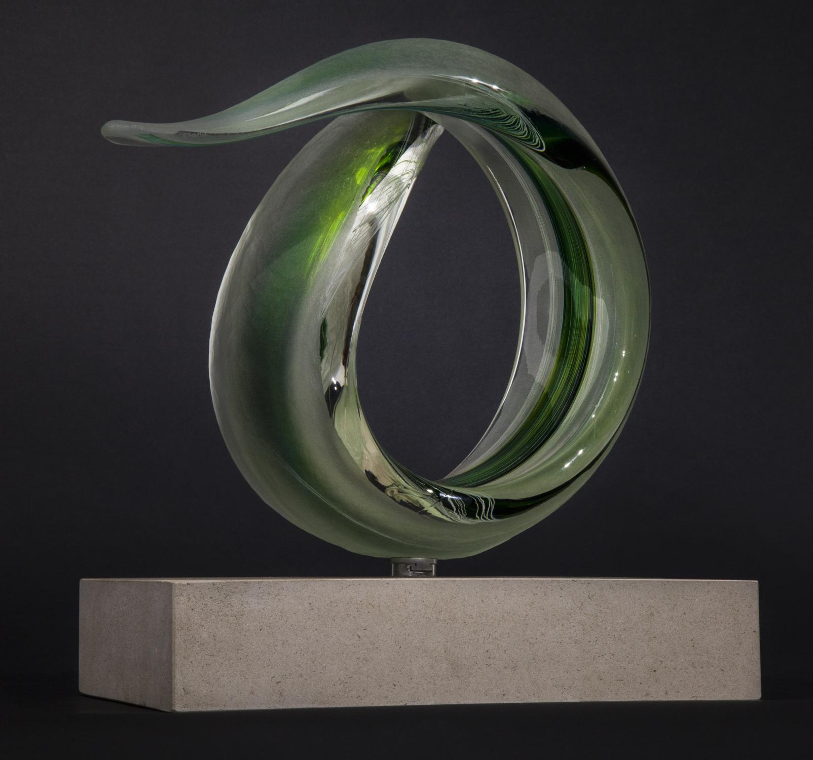 Lot 18 - Sculpture: Charlie MacPherson, Green Spiral, Glass on limestone base, Signed, Unique, 36cm high by