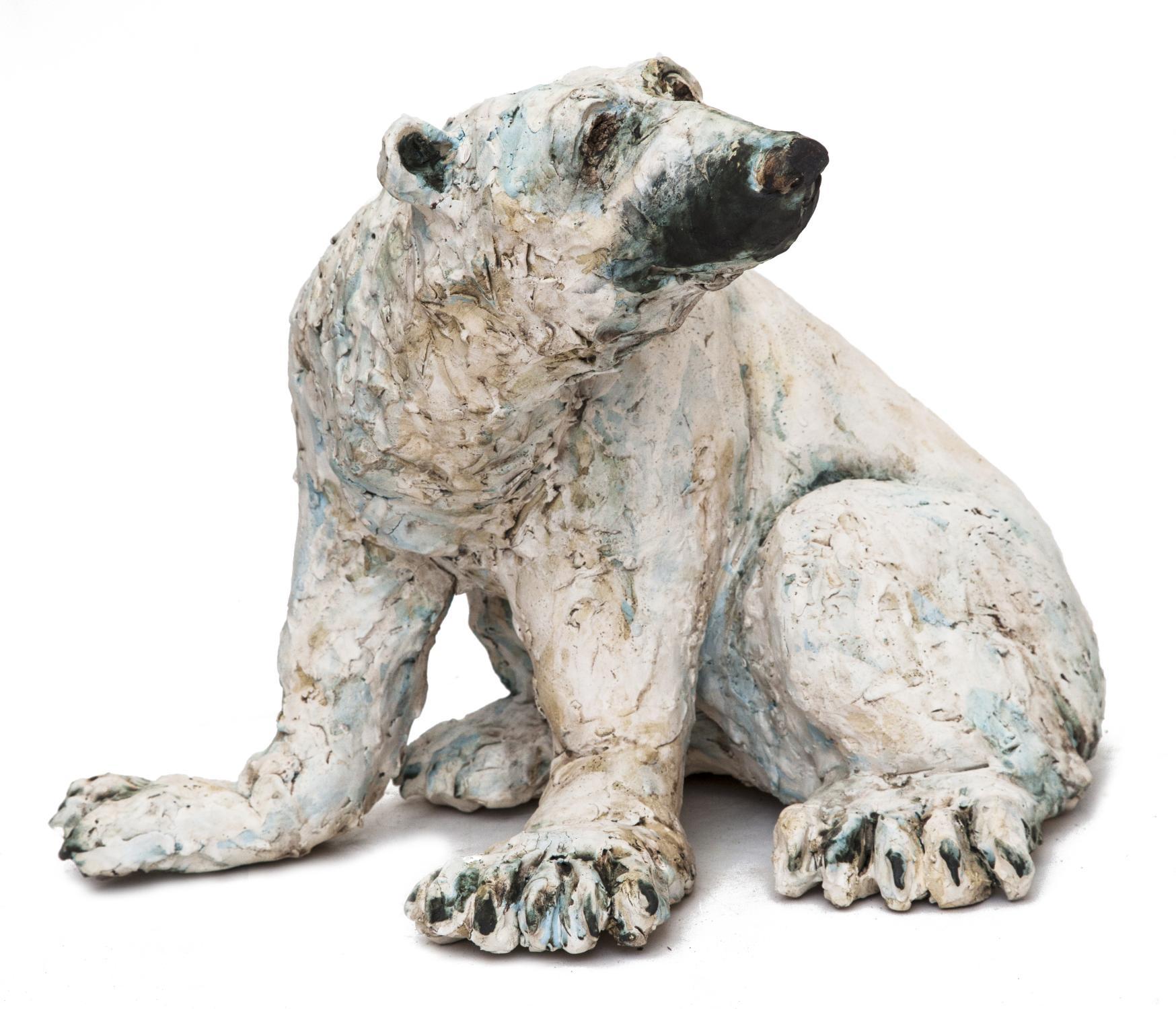 Lot 21 - Sculpture: Christine Cummings, Polar Bear, Stoneware ceramic sculpture, Unique, 33cm high by 40cm