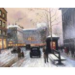 Lot 342 - FOLLOWER OF EMILE BOYER, B.1877, OIL ON BOARD Landscape, Parisian winter scene, framed. (approx 59cm
