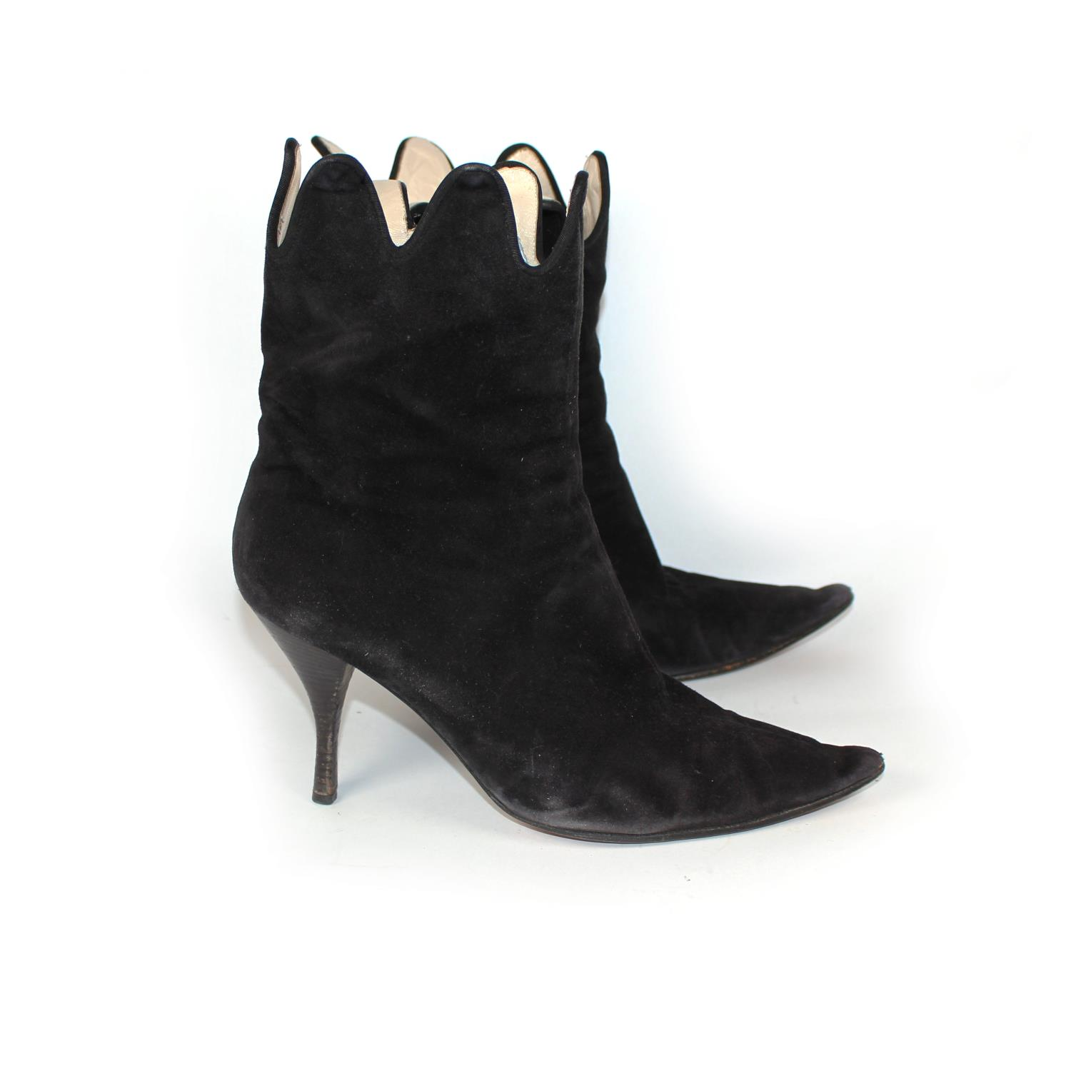 Lot 14 - VIVENNE WESTWOOD, BLACK SUEDE ANKLE BOOTS With side zip, scalloped edge and pointed toe (size