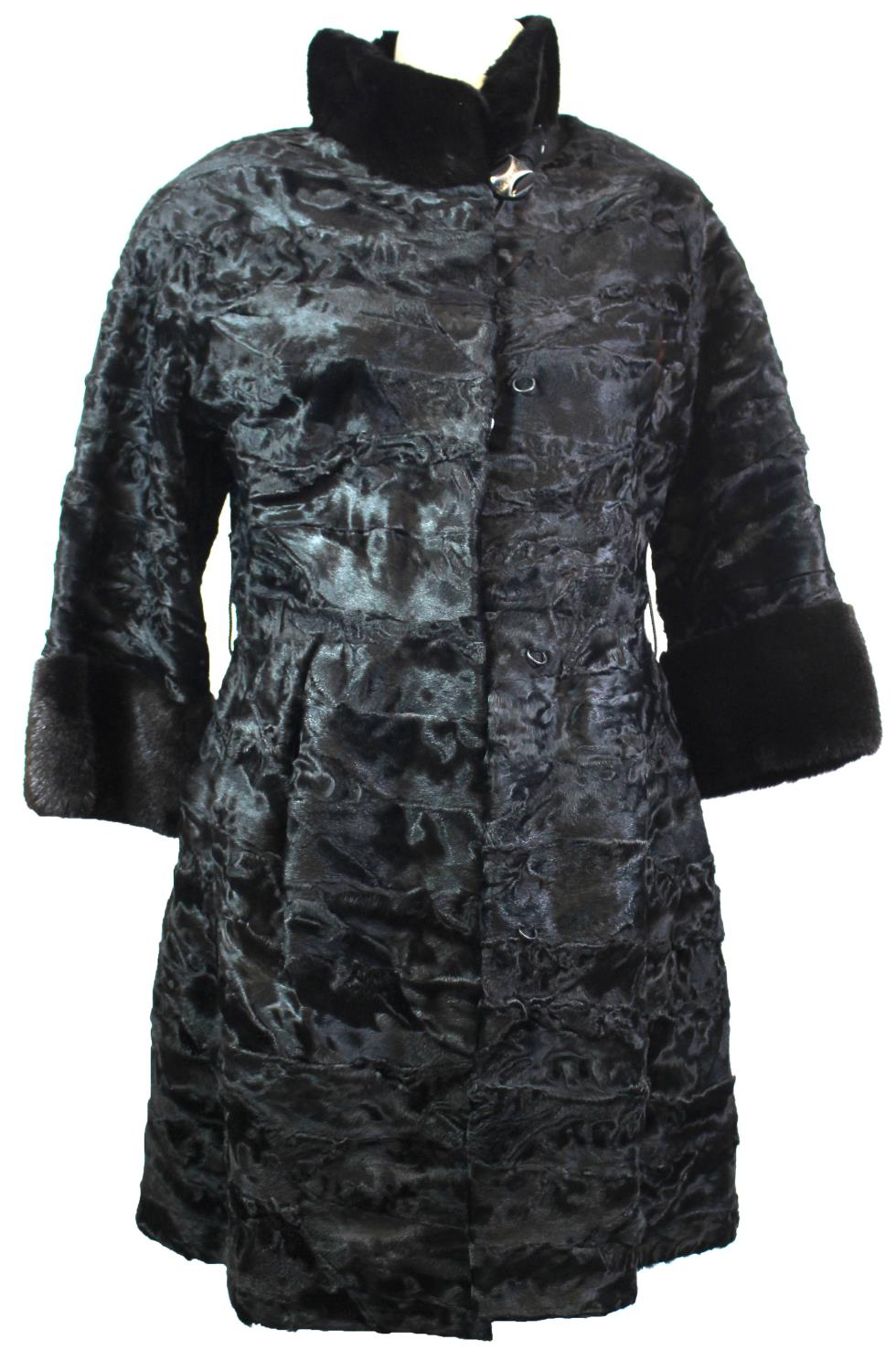 Lot 377 - MALA MATI, BLACK FUR COAT With hook and eye attachments, three quarter sleeves, fur trimmed