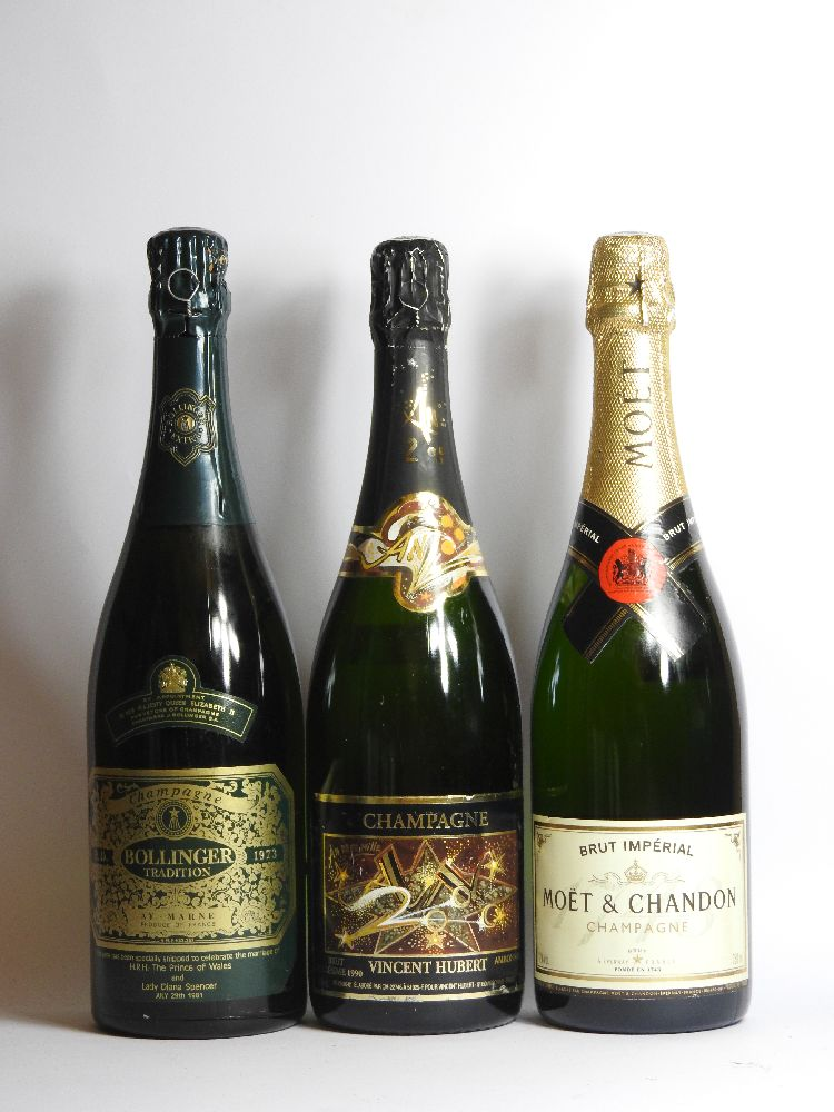 Lot 59 - Assorted Champagne to include one bottle each: Bollinger, RD, 1973, shipped to celebrate the