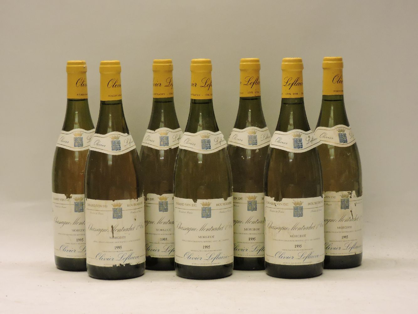Lot 14 - Chassagne-Montrachet 1ere Cru, Morgeot, Leflaive, 1995, seven bottles (dirty labels)
