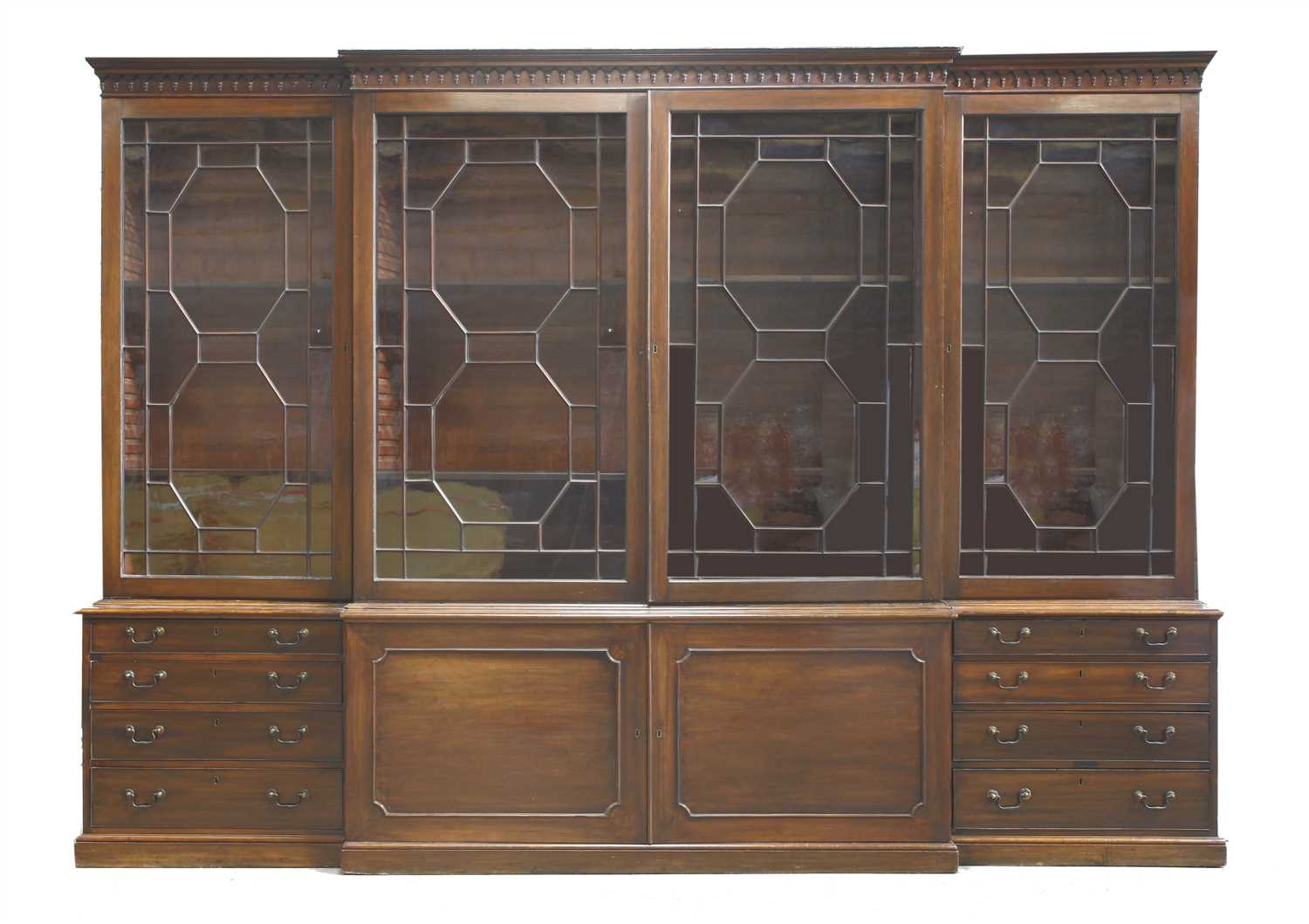 Lot 148 - A George III-style mahogany breakfront bookcase,