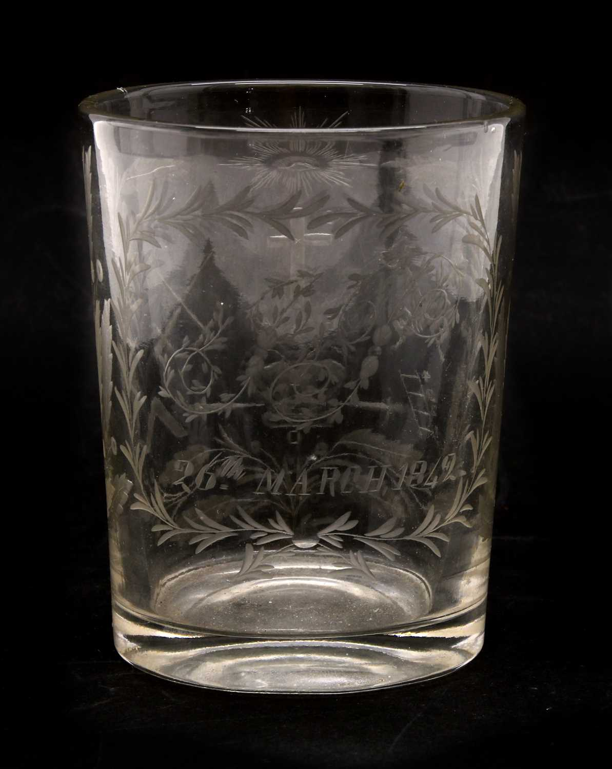 Lot 199 - A 19th century glass Masonic tumbler,