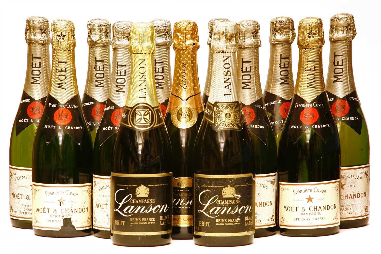 Lot 30 - Assorted non-vintage Champagne: Moet & Chandon, ten bottles, Lanson, three bottles