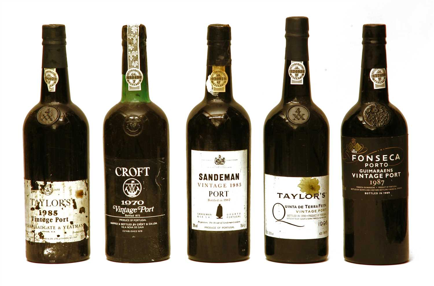 Lot 38 - Assorted port: Croft, 1970; Fonseca 1987, Taylor's, 1985 and 1996, Sandeman, 1985, 5 bottles total