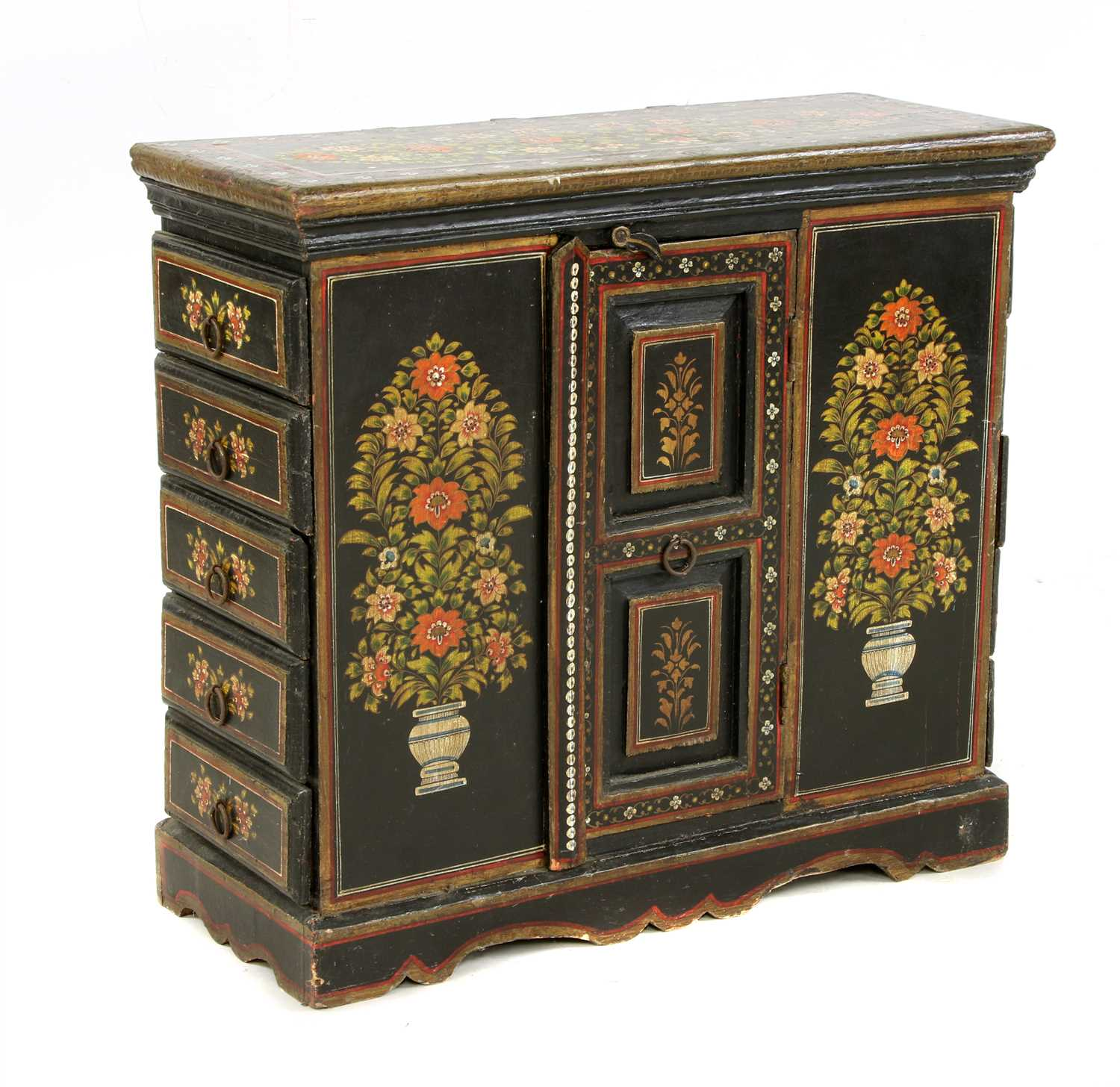 Lot 666 - A Tibetan style painted and ebonised cabinet,
