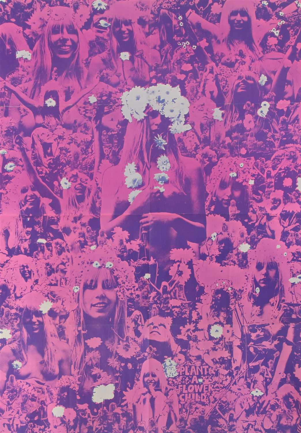 Lot 30 - A RARE PINK 'PLANT A FLOWER CHILD' 1967 POSTER,